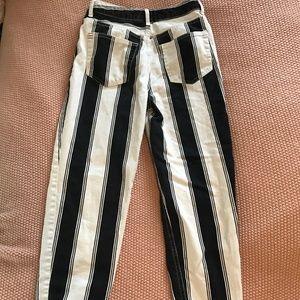 Black and white striped boyfriend jeans